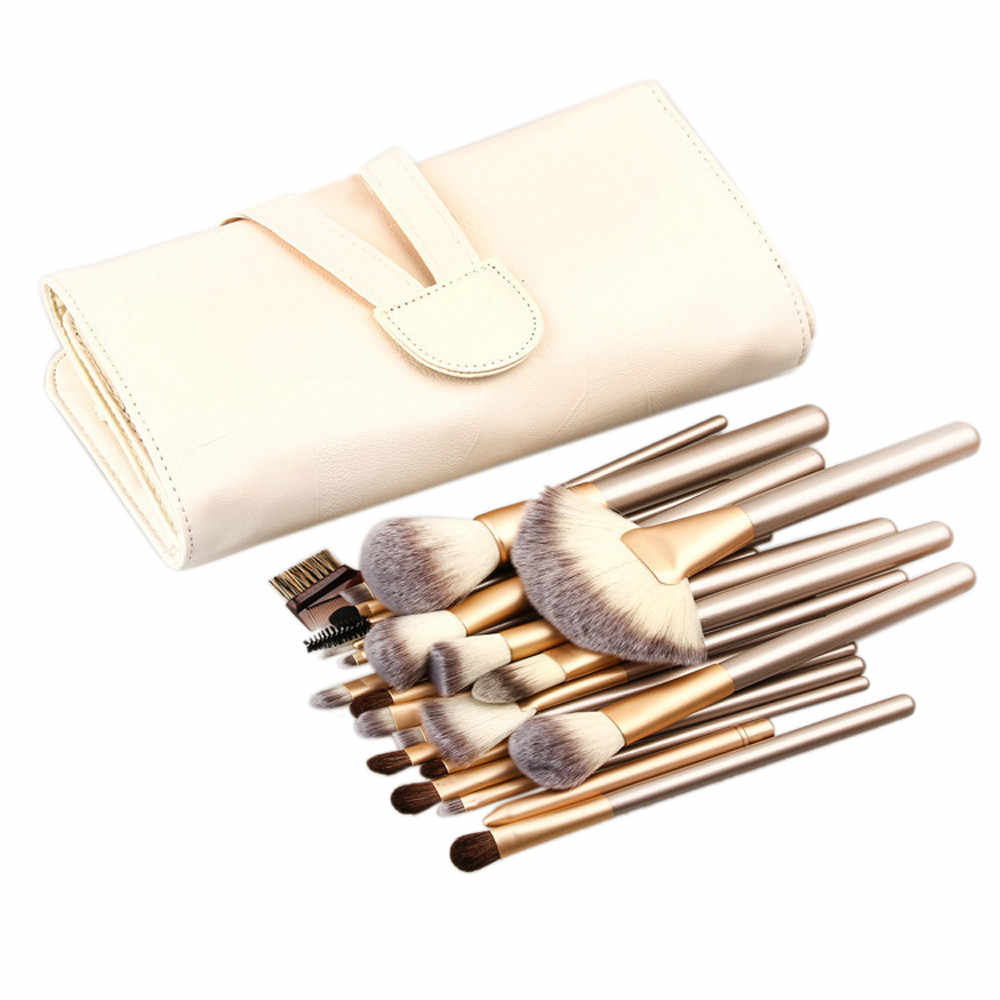 Reusable storage pouch, conveniently store brushes 18-24pcs Makeup Brushes set Fondation Eyeshadow Cosmetic Tool with Leather G4