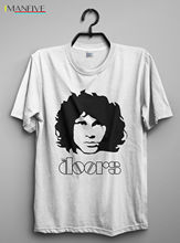Лучший!  Винтажная футболка Джим Моррисон The Doors Reprint Мужчины Футболка Топы с коротким рукавом Хлопковы Лучший