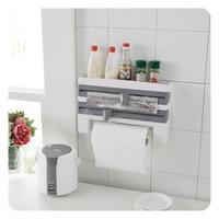 1Pcs multifunctional kitchen plastic wrap foil paper towel holder, foil wrapping paper cutting seasoning bottle sorting box