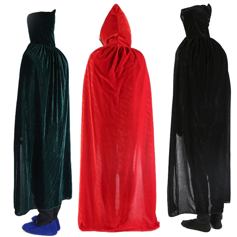 Adult Unisex Velvet Solid Color Long Hooded Cloak Halloween Christmas Costume Party Cape Role Play Fancy Dress Robe