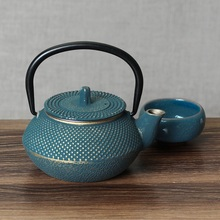300ml Blue Iron Tea Pot Set Japanese Teapot Tetsubin Kettle Drinkware Kung Fu Tools Stainless Steel Strainer Teakettle Genuine