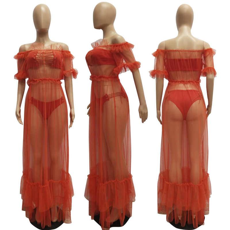 e0a2731956d ... BerryPark Sexy See Through Mesh Maxi Dress Women Off the Shoulder 2019  Summer Dresses Beach 3PCS ...