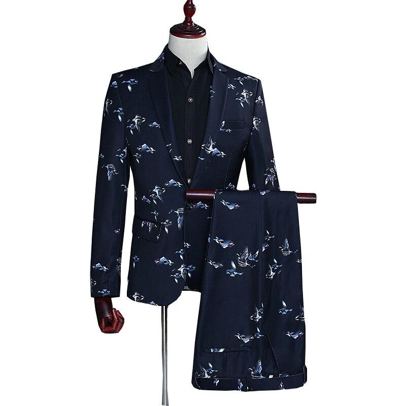 Oiseaux imprimer costumes pour hommes 2019 été automne à manches longues hommes blazer avec pantalon 2 pièces fête mariage robe costume décontracté costume homme