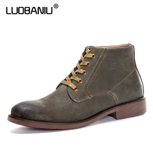 LUOBANIU Brand Men Boots Size 38~47 Fashion style Men Winter Boots Handmade Warm Plus Size Casual Fashion High-Cut Lace-up shoes