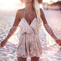 Fuedage New Sexy Bodysuit Women Backless Rompers 2017 Womens Short Jumpsuit Fashion Sequins Crystal Playsuit Overalls