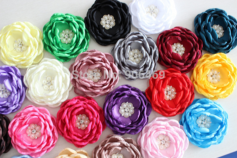Satin Burn flowers 120pcs without  Rhinestone Center