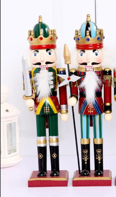 2pc sets christmas gifts at home first genuine 30cm new boutique nutcracker christmas ornaments puppet soldiers - Nutcracker Christmas Ornaments