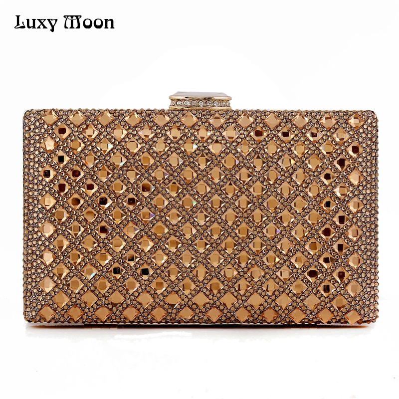 Luxy Moon gold Clutch Women Evening bags Ladies Crystal Day Clutches Wallet Wedding Purse Party Banquet bag Black/Gold/Silver 7 color oval gold ab silver pink luxury crystal evening bag party clutch purse women wedding handcraft banquet bag customized