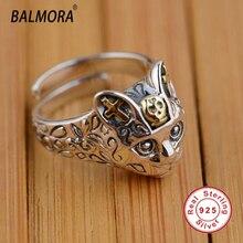 Balmora 100% real 925 joyería de plata esterlina gato retro anillos de dedo para las mujeres de los hombres regalos del partido animal anillo dimensionable sy20568