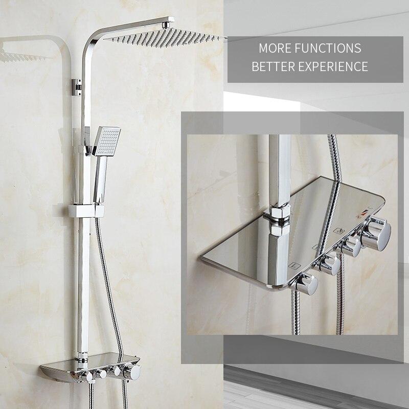 Современный простой Ванная комната осадков Термостатический смеситель для душа комплект Chrome смесители с ручным душ квадратная голова набо...