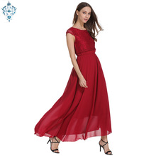 Ameision Chiffon Lace wine red long Evening Dresses A-Line O neck Sleeveless party dress gown prom fashion womens clothing 2019