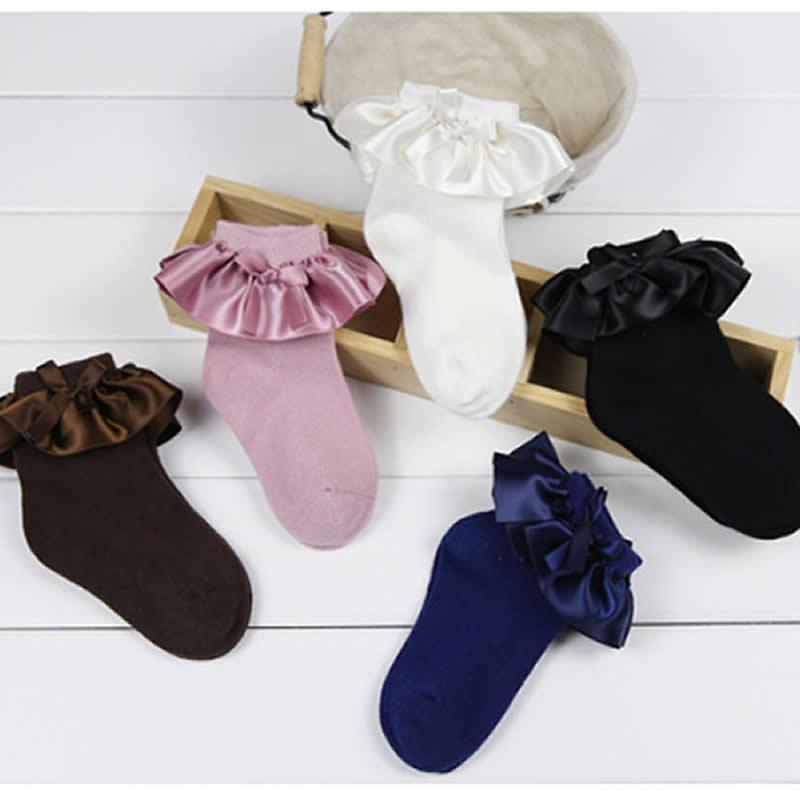 87fcd26a329a9 Chaussettes Enfants bébé coton chaussettes avec lacets filles Princesse bébé  chaussons chaussettes courtes printemps été mince ...