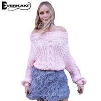 Everkaki Frauen Weg Von Der Schulter Pullover Pullover Beiläufige Feste Lose Laternehülse Pullover Tops Femme 2017 Herbst Winter Neue