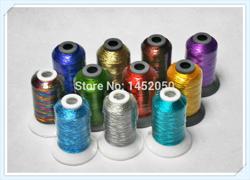 Assorted Colors High Luster Metallic Embroidery Knitting Machine Thread For Brother Singer Janome 500m 11 Free