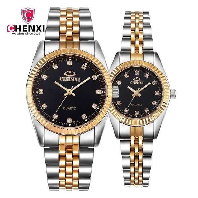 CHENXI Brand Couple Watches Women Men Gold Luxury Lover's Wristwatch Golden Rhin