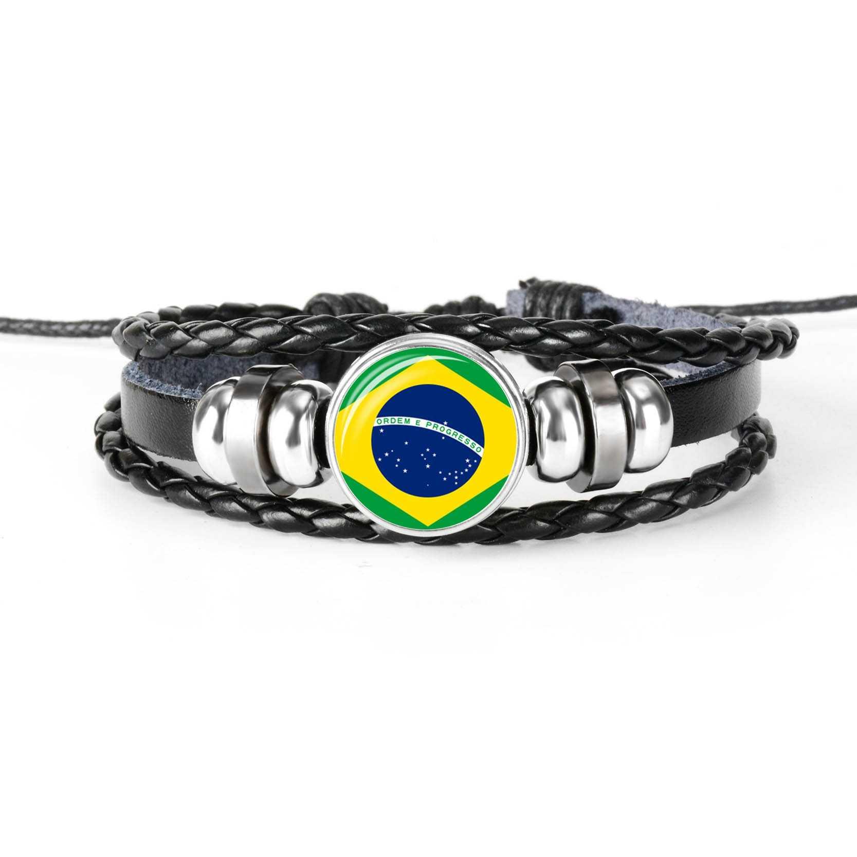2019 ใหม่แฟชั่น Handmade แอลจีเรียธงบราซิลสร้อยข้อมือกำไลข้อมือผู้ชายและผู้หญิงแก้ว Cabochon สร้อยข้อมือหนังเครื่องประดับของขวัญ