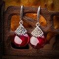 925 prata Esterlina jóias da moda Vermelho corindo natural semi-pedras preciosas ágata verde gota de água Oscila Brincos