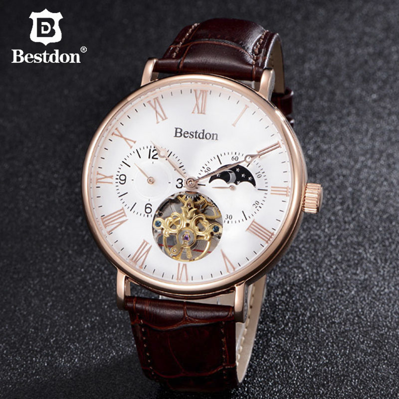 Bestdon Classic Tourbillon Mens Watch Automatic Mechanical Luxury Switzerland Brand Gold Case 45mm Big Dial Moon Phase Movement