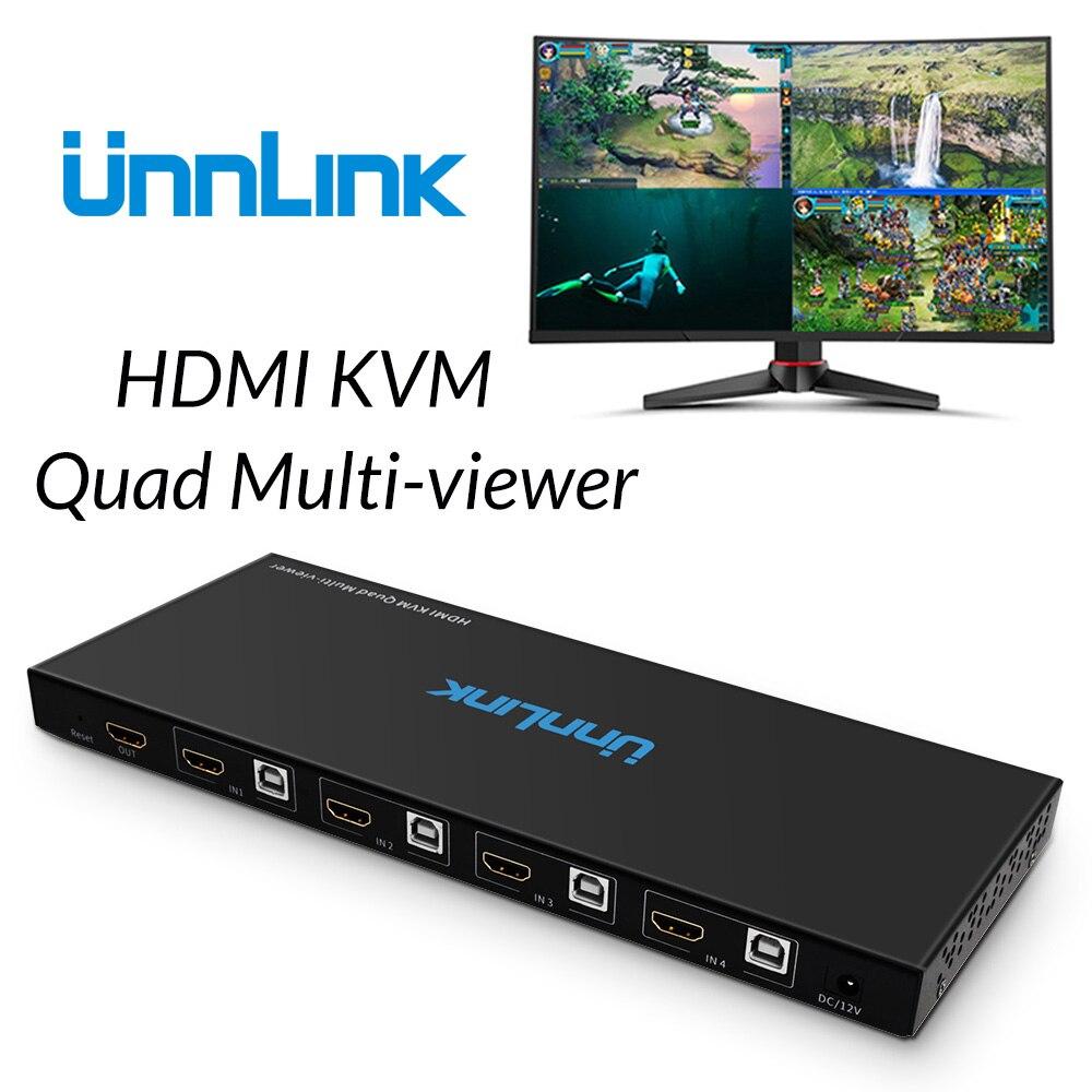 Unnlink KVM USB HDMI Quad multi-visionneuse FHD1080P @ 60Hz HDMI 4x1 Seamless Switch 1 Clavier Souris Contrôle 4 pièces Ordinateurs Hôtes