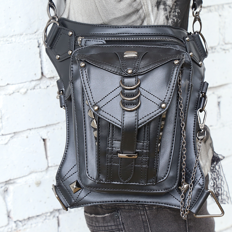 Retro Punk Style Unisex Women Men Shoulder Bag Rock Gothic Waist Bag Black Leather Leg Bag Metal Bag Waist Packs