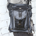 Retro Punk Style Unisex Women Men Shoulder Bag Rock Gothic Waist Bag Black Leather Leg Bag Metal Bag Waist Packs