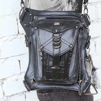 Retro Punk Style Unisex Women Men Shoulder Bag Rock Gothic Waist Bag Black Leather Leg Bag Metal Bag Waist Packs - DISCOUNT ITEM  33% OFF All Category