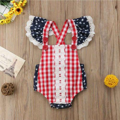 Новинка; Летние Боди для новорожденных девочек; милые кружевные клетчатые комбинезоны принцессы с рюшами и звездами для младенцев; детская одежда с открытой спиной; Sunsuit