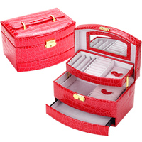 Fashion Women Alligator Grain PU Leather Automatic Gift Jewelry Box Display Organizer Carrying Case Casket Boxes
