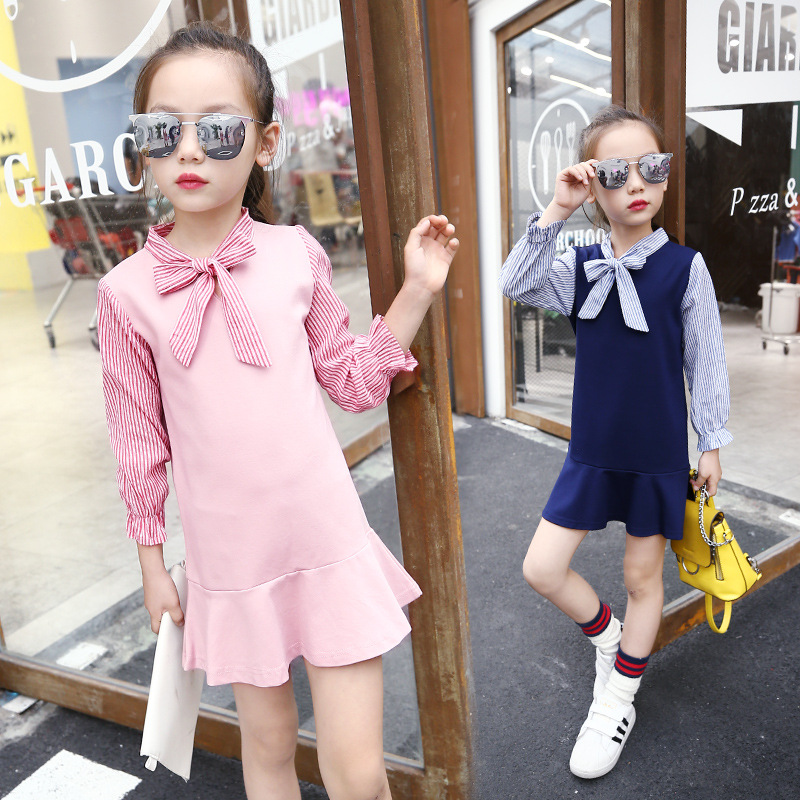 2-14Y Girls Princess Dress 2017 Autumn Winter Bow Dress Kids Clothes Long Sleeved Girls Striped Party Dresses Children Costume fashion 2016 new autumn girls dress cartoon kids dresses long sleeve princess girl clothes for 2 7y children party striped dress