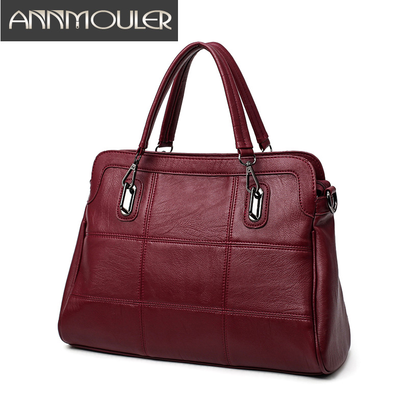 Annmouler Design Brand Bags for Women Solid Color Handbags Pu Leather Large Capacity Casual Tote Bag Black OL Shoulder Bags casual solid color and denim design tote bag for women
