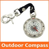Kirsite Pocket Watch Style Foldable Luminous Outdoor Multifunctional compass Camp Compass with Sling Strap for Children Students
