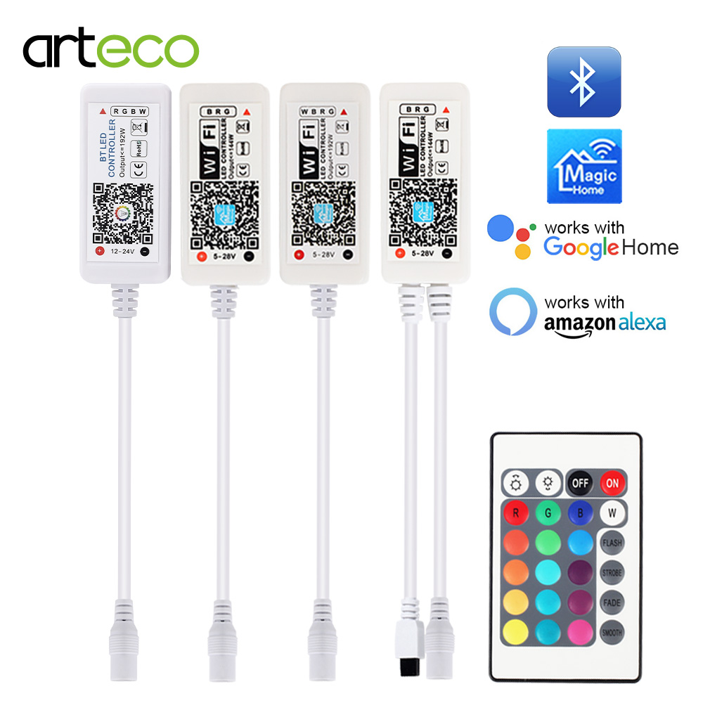 5V 12V 24V LED Strip Bluetooth / WIFI RGB / RGBW / RGBWW Controller Android IOS APP Amazon Alexa Google Magic Home IR Control image