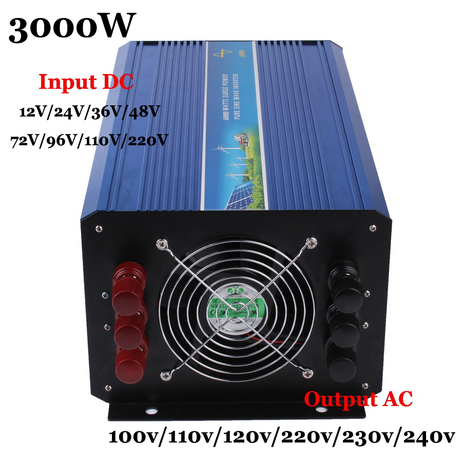 3000W Off Grid Inverter, 12V/24V/36/48vDC 110V/220VAC Pure Sine Wave Solar Inverter or Wind Inverter, Surge Power 6000W