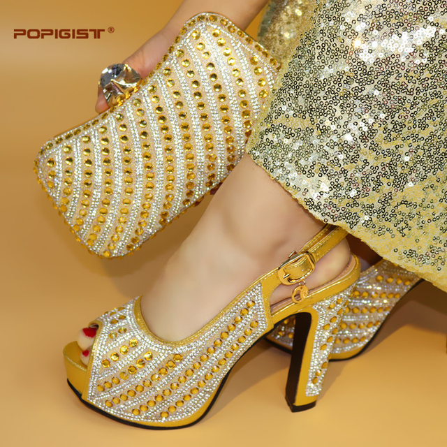 Gold Color Latest Design 2018 Wedding Matching Italian Shoes and Bag Set Wedding and Party African Shoes and Bag Set for Party