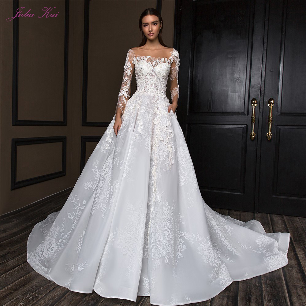 Julia Kui Scalloped Neck Off White A Line Wedding Dress Elegant With Cap Sleeve Lace Up