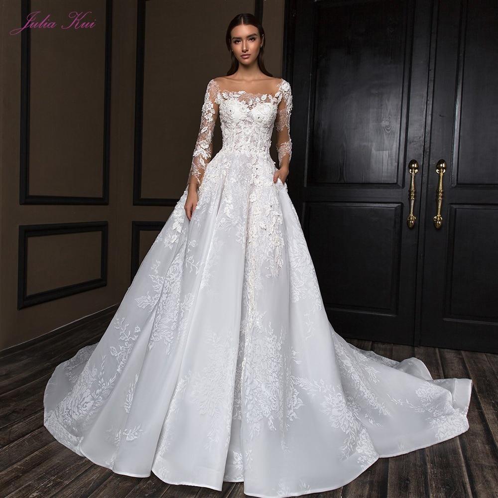 Julia Kui Scalloped Neck Off-White A-Line Wedding Dress Elegant With Cap Sleeve Lace Up Closure Chapel Train
