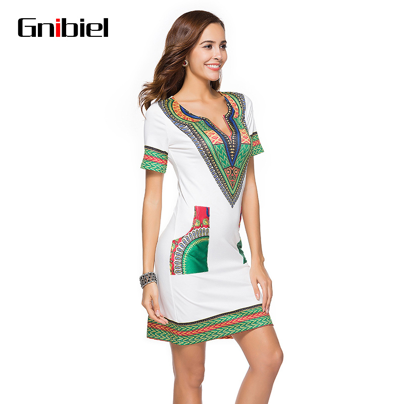 US $25.18 |Gnibiel Dress for Women 3XL Plus Size Wholesale African Clothes  Casual Summer Hippie Print Dashiki Fabric Femme Boho Robe Femme-in Dresses  ...