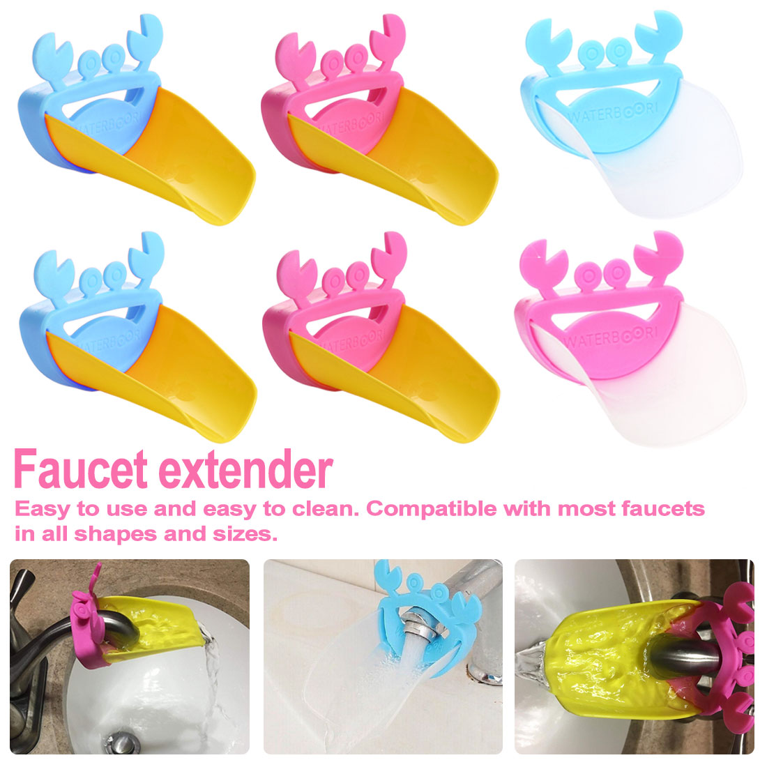 Faucet Extender Sink Handle Extension Toddler Kid Bathroom Accessories Hand Wash Tools Extension Of The Water Trough Silicone