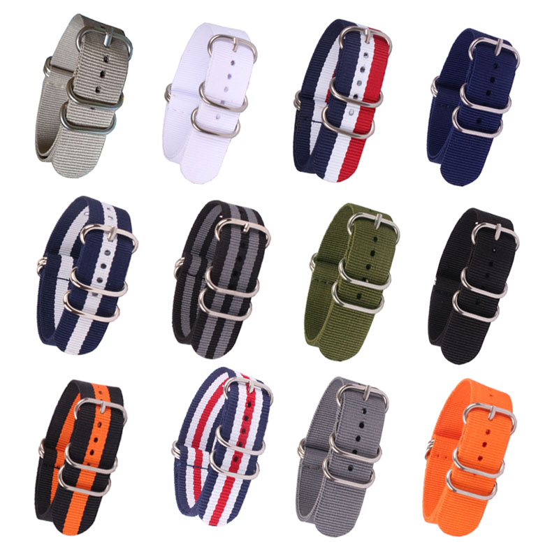 (Buy 2pcs will get 20% off ) 16/18/20/22/24mm Cambo Stripe Woven Ring Buckle Watchband Watch Straps Wristwatch Band watches Zulu