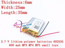 3.7 V 600 mAh akumulator litowo polimerowy akumulator litowo-jonowy do słuchawki tachografu MODEL 582535 SP5 mp3 mp4 GPS 602535 062535