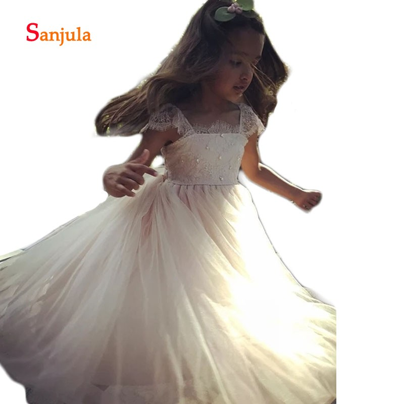 A Line Long Tulle Dress For Children Square Neck Lace Flower Girls