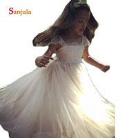 A Line Long Tulle Dress for Children Square Neck Lace Flower Girls Dress Formal Party Gowns Cap Sleeve Beaded Kids Dress D102