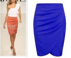 2017 Summer new hot plus size high waist pencil skirt OL business formal women's skirts short bodycon black white blue