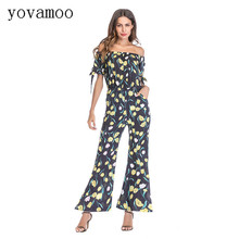 Yovamoo 2018 Rompers Retro Chiffon Floral Print Slash Neck Strapless Wide Leg Pants Summer Off Shoulder Flare Jumpsuit For Women