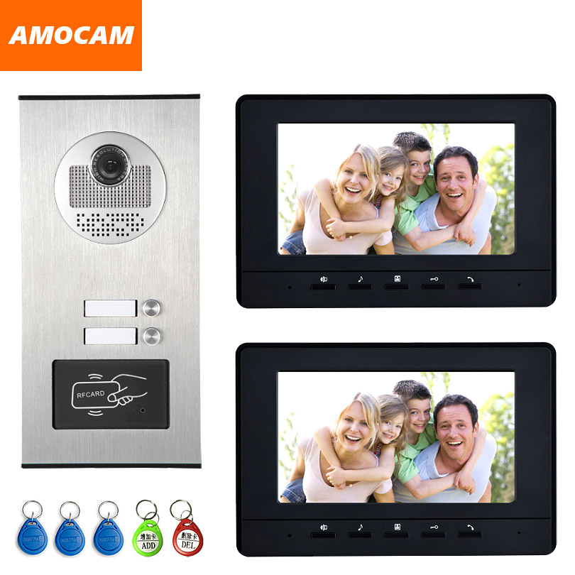 2 Units Apartment intercom system Video Door Phone Door Intercom HD Camera 7 Monitor video Doorbell 5-RFID Card for 2 Household