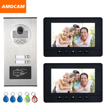 2 Units Apartment intercom system Video Door Phone Door Intercom HD Camera 7″ Monitor video Doorbell 5-RFID Card for 2 Household