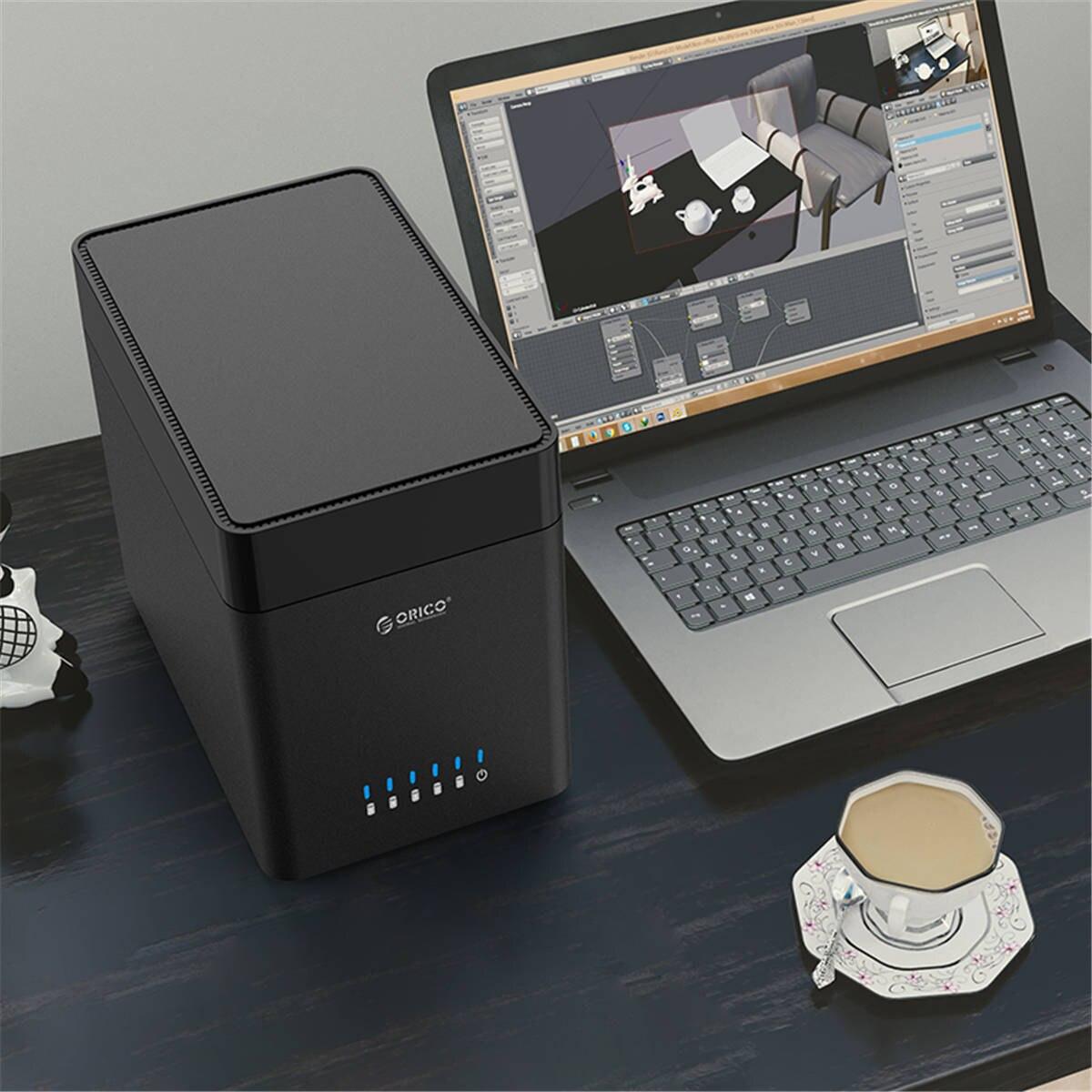 Boîtier de disque dur ORICO 5 baies de type magnétique 3.5 pouces USB3.0 à SATA3.0 3.5 en boîtier HDD Support UASP 12V6. 5A puissance MAX 50 to - 2