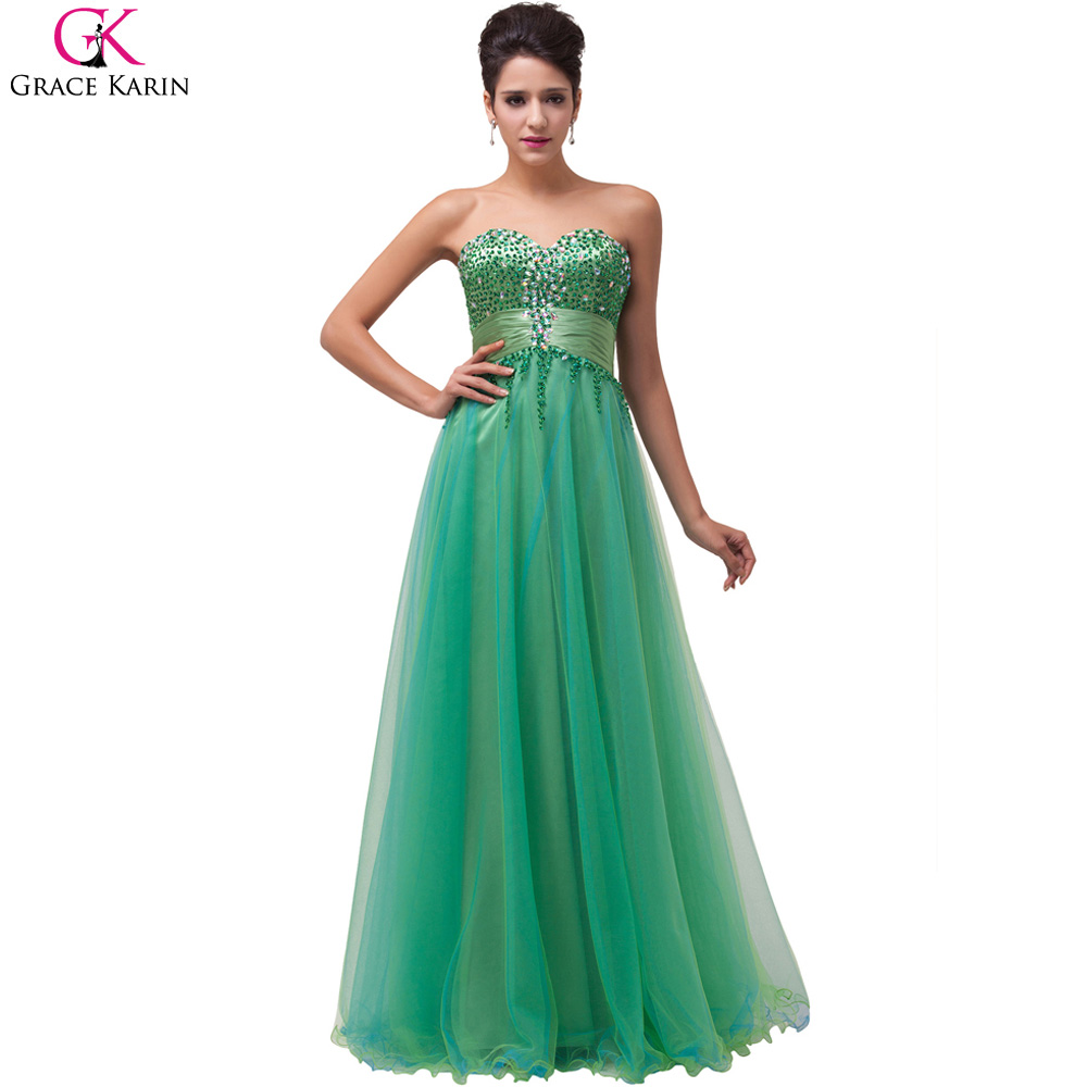 Grace Karin Emerald Green Beaded Sequin Evening Dresses Floor Length Ball Gown Tulle Formal Evening Gowns Robe De Soiree 6063