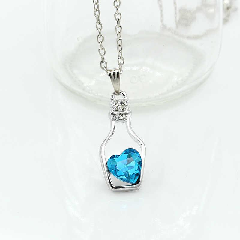 Śliczne butelka życzeń naszyjniki Hollow kryształ miłość wisiorki serce urok łańcuszek do obojczyka kobiety moda Rhinestone cyrkon biżuteria