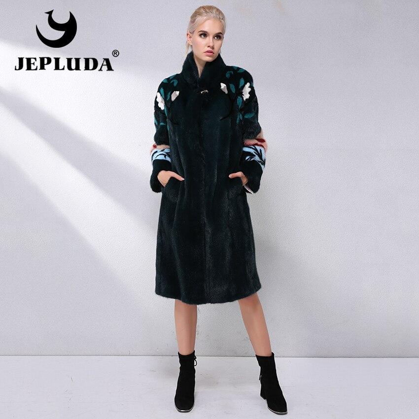 JEPLUDA Luxurious Natural Real Mink Fur Coat Women Winter European imports Velvet Real Mink Fur Jacket long warm Mink Fur Coat